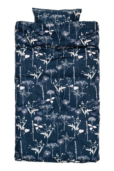 Patterned duvet cover set - Dark blue/Floral - Home All | H&M IE 1