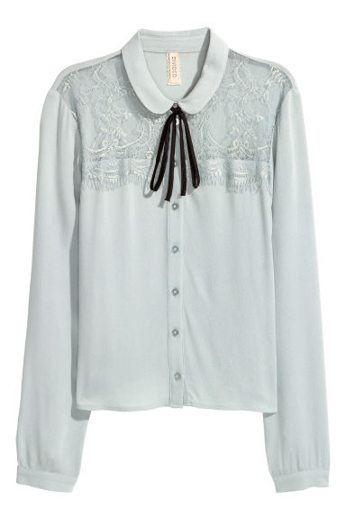 Short blouse - Light blue -  | H&M GB