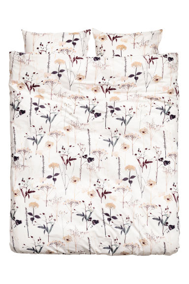 Patterned duvet cover set - White/Floral - Home All | H&M CN 1