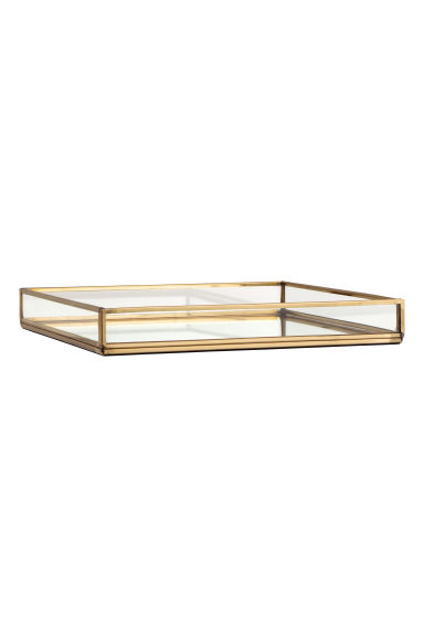 Metal tray with glass sides - Gold - Home All | H&M CN 1