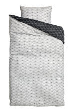 Patterned Duvet Cover Set - Light grey/Black - Home All | H&M CA 1