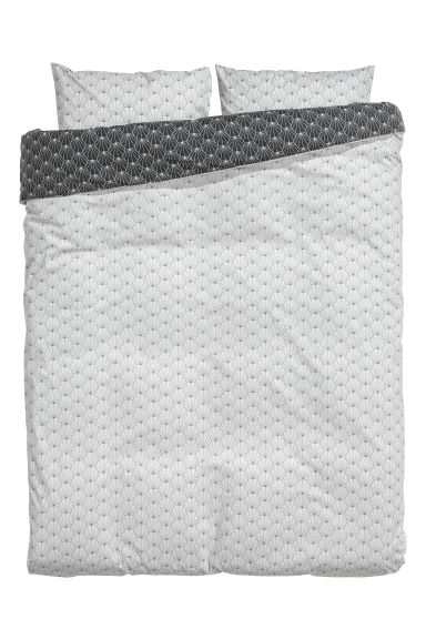 Patterned duvet cover set - Light grey/Black -  | H&M IE