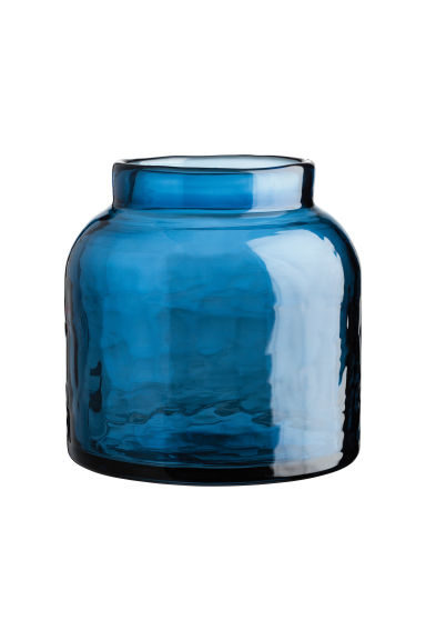 Low glass vase - Blue - Home All | H&M CA 1