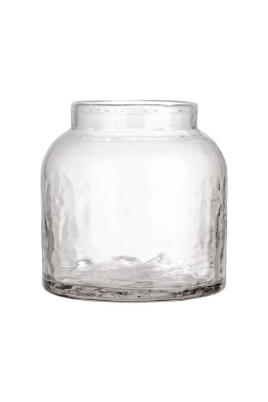 Low glass vase - Clear glass - Home All | H&M CN 1
