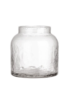 Low glass vase