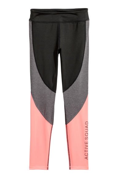 Sports tights - Black/Light coral - Kids | H&M