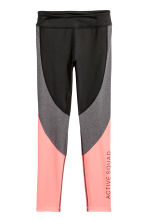 Sports tights - Black/light coral -  | H&M CA 1