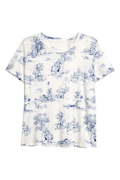 H&M+ Patterned top - White/Patterned - Ladies | H&M