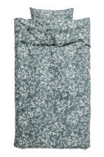 Patterned duvet cover set - Khaki green - Home All | H&M CN 2