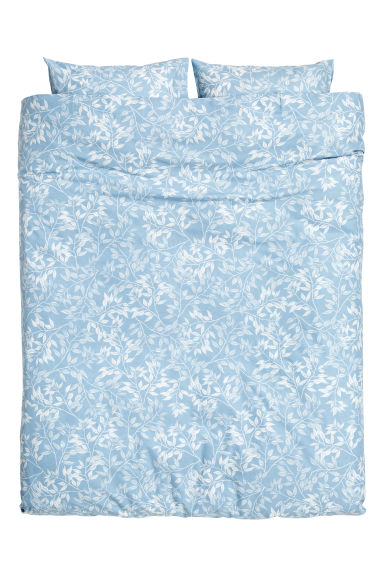 Patterned duvet cover set - Light blue - Home All | H&M CA