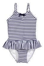 Swimsuit with a frill - Dark blue/Striped - Kids | H&M 1