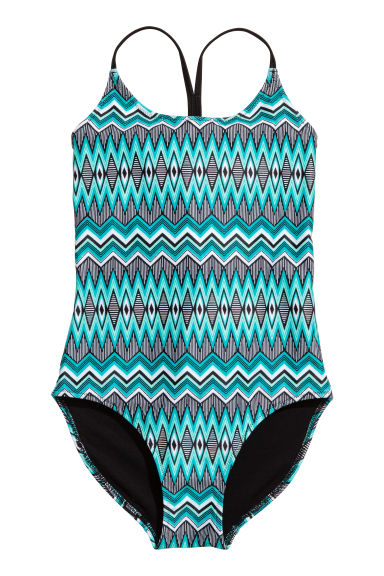 Patterned swimsuit - Turquoise/Black - Kids | H&M CN 1