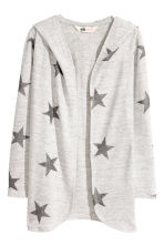 Hooded cardigan - Light grey marl/Stars - Kids | H&M CN 2