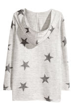 Hooded cardigan - Light grey marl/Stars - Kids | H&M CN 3