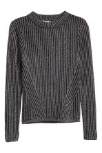 Ribbed jumper - Black/Glittery - Kids | H&M CN 2