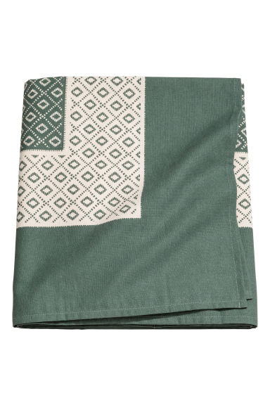 Patterned cotton tablecloth - Moss green - Home All | H&M GB