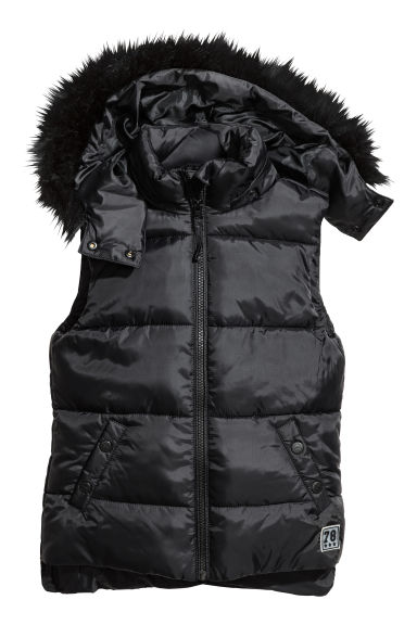 Padded gilet with faux fur - Black -  | H&M