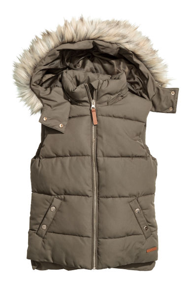 Padded Vest with Faux Fur - Khaki green -  | H&M CA