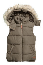 Padded gilet with faux fur - Khaki green - Kids | H&M 1