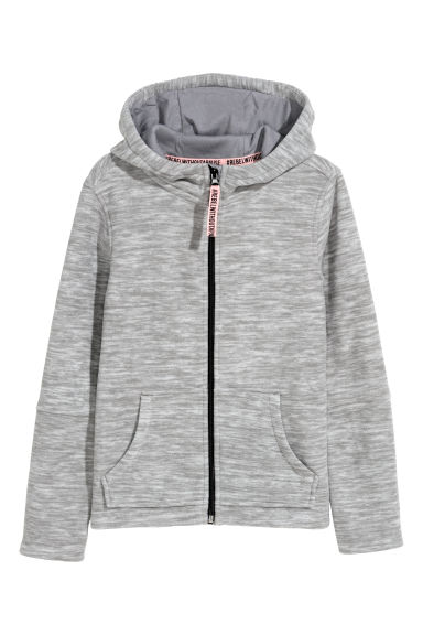 Fleece jacket with a hood - Grey marl - Kids | H&M 1