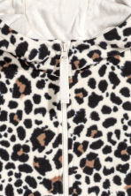 Fleece jacket with a hood - Natural white/Leopard print - Kids | H&M GB 3