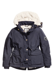 Parka with faux fur lining