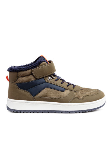 Pile-lined hi-tops - Khaki/Dark blue - Kids | H&M 1