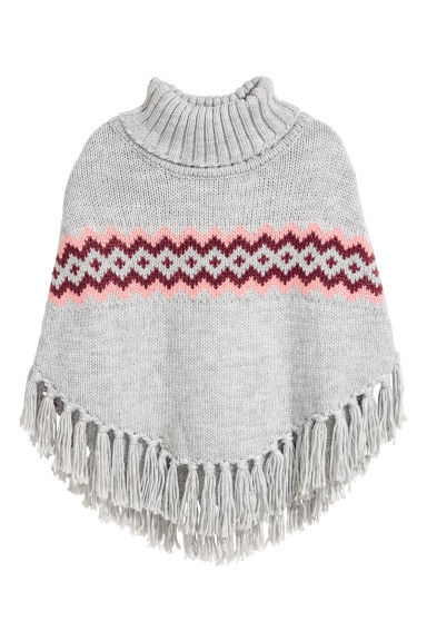 Knitted poncho - Grey - Kids | H&M CN 1