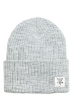 Rib-knit hat - Light grey marl/Glittery - Kids | H&M 1