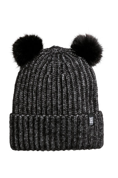 Rib-knit hat - Black marl - Kids | H&M CN 1