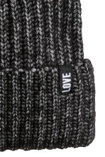 Rib-knit hat - Black marl - Kids | H&M CN 2