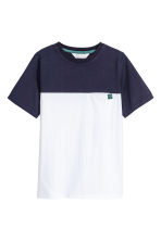 Block-coloured T-shirt - Dark blue/White - Kids | H&M 2