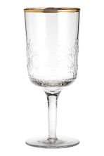 Textured stemmed glass - Clear glass/Gold-coloured - Home All | H&M GB 1