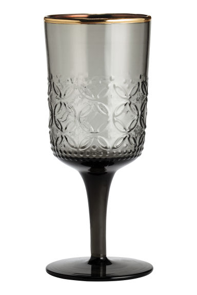 Textured stemmed glass - Anthracite grey - Home All | H&M CN 1