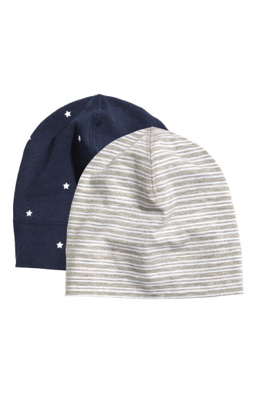 2-pack jersey hats - Dark blue/Grey - Kids | H&M 1