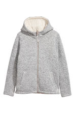 Pile-lined hooded jacket - Light grey marl -  | H&M 2