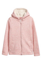 Pile-lined hooded jacket - Light pink marl -  | H&M CA 2