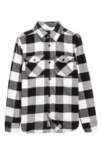 法蘭絨襯衫 - Black/White checked - Kids | H&M 2