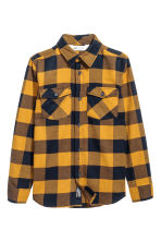 Flannel shirt - Mustard yellow/Checked - Kids | H&M CN 2