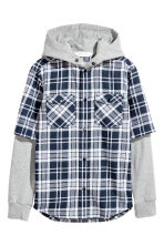 Hooded shirt - Dark blue/Checked -  | H&M 2