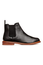 Leather Chelsea boots - Black -  | H&M CN 1