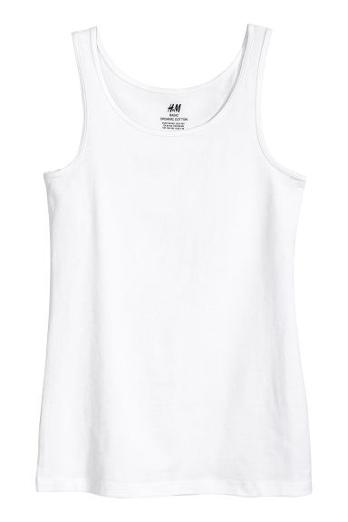 Jersey vest top - White -  | H&M 1