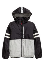 Fleece-lined windproof jacket - Black/Grey -  | H&M 2