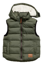 Padded gilet with a hood - Khaki green -  | H&M 2