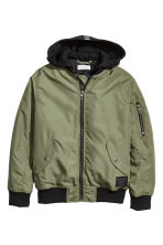 Hooded bomber jacket - Khaki green - Kids | H&M CN 2