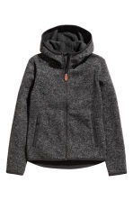 Knitted fleece jacket - Black marl - Kids | H&M CN 2
