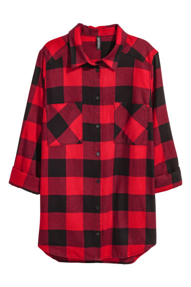 Flannel shirt - Red/Checked - Ladies | H&M