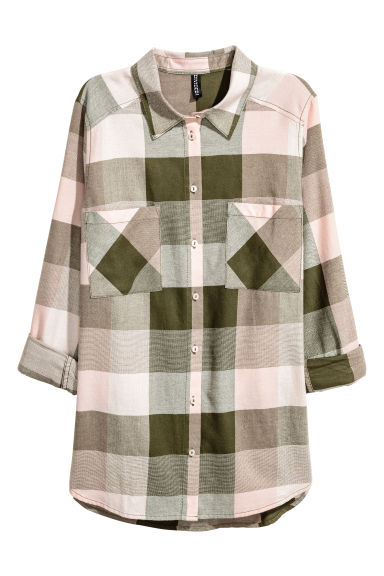 Flannel shirt - Powder pink/Checked -  | H&M CN
