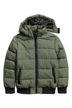 Padded Jacket with Hood - Khaki green - Kids | H&M CA 2