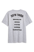T-shirt met print - Grijs gemêleerd/New York - HEREN | H&M BE 3
